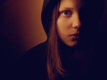 Portrait of a depressed teen girl royalty free stock image
