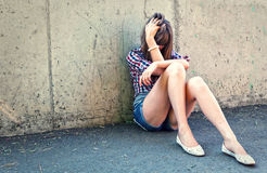 Portrait of depressed teenager girl. Royalty Free Stock Images