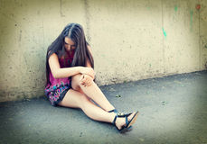 Portrait of depressed teenager girl. Royalty Free Stock Image