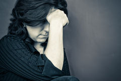 Portrait of a depressed woman Royalty Free Stock Images