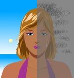 Portrait of depressed woman. Half face sad woman, concept vector illustration royalty free illustration