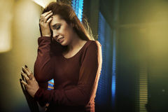 Portrait of a depressed young lady Royalty Free Stock Images