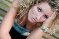 Portrait of depressed young woman Royalty Free Stock Photography