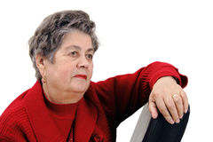 Portrait der älteren Frau getrennt auf Weiß Lizenzfreies Stockfoto
