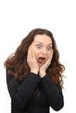 Portrait der überraschten jungen Frau Stockbild