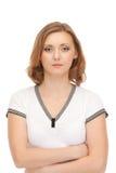 Portrait der attraktiven Frau getrennt auf Weiß Lizenzfreies Stockbild