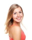 Portrait der blonden Frau getrennt auf Weiß Lizenzfreies Stockbild
