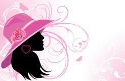 Portrait der eleganten Frau in einem Hut Stockfotos