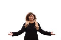 Portrait der fälligen Frau Sieg zeigend stockfoto