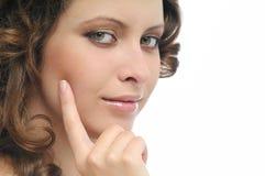 Portrait der Frau auf Weiß Lizenzfreies Stockfoto