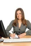 Portrait der Frau mit einem Computer. Lizenzfreie Stockfotografie