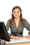 Portrait der Frau mit einem Computer. Lizenzfreie Stockbilder