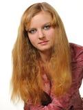 Portrait der Frau mit rotem Haarabschluß oben Stockfoto