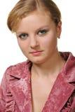 Portrait der Frau mit roter Haarnahaufnahme Lizenzfreie Stockfotos