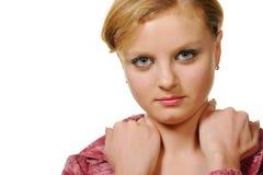 Portrait der Frau mit roter Haarnahaufnahme Stockbild