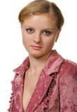 Portrait der Frau mit roter Haarnahaufnahme Stockfotografie