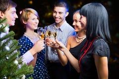 Portrait der Freunde, die Weihnachten feiern Lizenzfreie Stockfotografie
