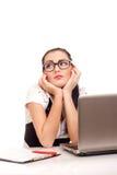 Portrait der gebohrten Geschäftsfrau Stockbild