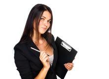 Portrait der Geschäftsfrau Kenntnisse nehmend Lizenzfreie Stockfotografie
