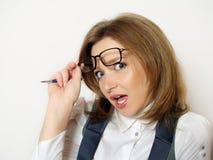 Portrait der Geschäftsfrau mit Gefühlen lizenzfreies stockfoto
