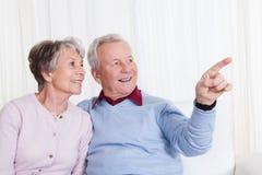 Portrait der glücklichen älteren Paare Stockfotografie