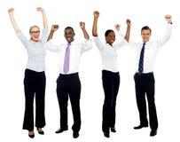 Portrait der glücklichen erfolgreichen Geschäftsgruppe Lizenzfreies Stockfoto