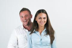 Portrait der glücklichen lächelnden jungen Geschäftsfrau Stockbilder