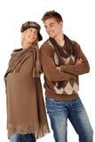 Portrait der glücklichen Paare in der warmen Kleidung Stockbild