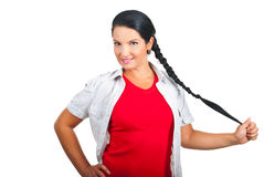 Portrait der hübschen Frau mit Zopf Stockfoto