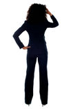 Portrait der hinteren Ansicht der konfusen Geschäftsfrau stockbild