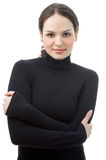 Portrait der jungen Frau im Schwarzen Stockbilder