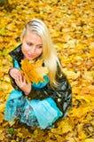 Portrait der jungen Frau mit Blättern Stockbild