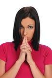 Portrait der jungen Frau mit den Händen verdient Stockfoto