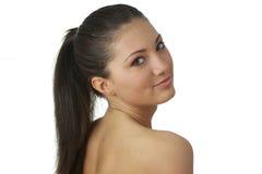Portrait der jungen Frau mit Gesundheitshaut des Gesichtes Stockfoto