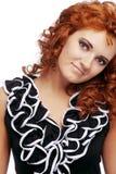 Portrait der jungen schönen Frau auf Weiß Stockfotografie