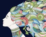 Portrait der jungen schönen Frau mit Blumen Schablone für Visitenkarten, Werbung, Schönheitssalons, Flieger, Netz Stockfoto