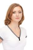 Portrait der lächelnden Frau getrennt auf Weiß Stockfotos