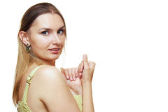 Portrait der lächelnden Frau. Getrennt auf Weiß Stockbilder