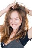 Portrait der lächelnden jungen Frau stockbilder