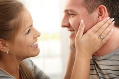 Portrait der lächelnden Paare Lizenzfreies Stockfoto