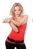 Portrait der lustigen jungen Blondine. Getrennt lizenzfreies stockfoto