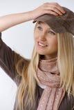 Portrait der modischen jungen Frau stockfotos