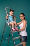 Portrait der Mutter und der Tochter stockfotos