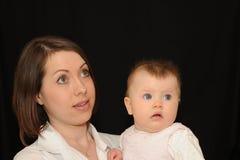 Portrait der Mutter und des Schätzchens Lizenzfreies Stockfoto