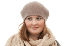 Portrait der netten jungen Frau auf Weiß stockfotografie