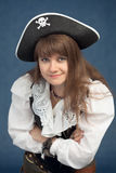 Portrait der Piratenfrau im Hut Lizenzfreies Stockbild