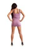 Portrait der reizvollen jungen Frau im rosafarbenen Kleid Stockfotos