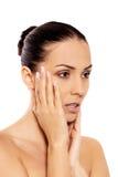 Portrait der schönen Badekurortfrau Stockfoto