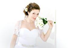 Portrait der schönen Braut Ein Fragment der Hochzeitsordnung stockfotografie
