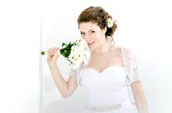 Portrait der schönen Braut Ein Fragment der Hochzeitsordnung lizenzfreies stockfoto